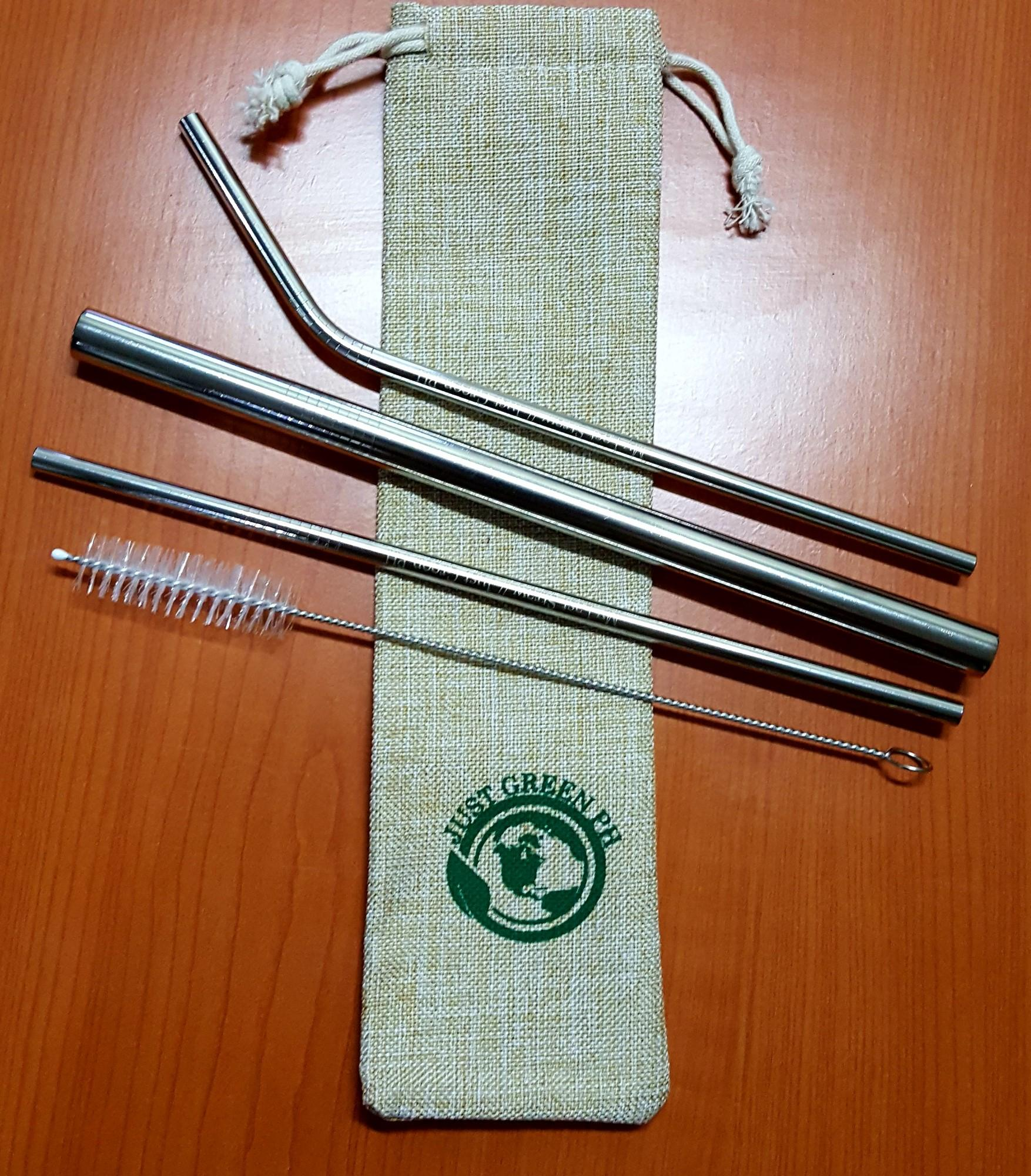 Just Green Ph / All-In Set, Set Of 5 Metal Drinking Straw Set With Free Cleaner And Premium Linen Bag With Free Silicon Tip! / Metal Straw Reusable Stainless Steel Straws For Tumblers, Fda-Approved Environment-Friendly Straws (multicolor) By Just Green Ph.
