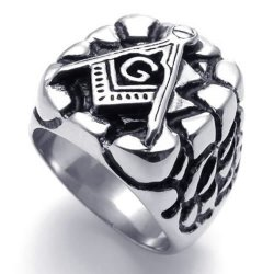 Mens Embossed Freemason Masonic 316L Stainless Steel Ring Black Silver- INTL