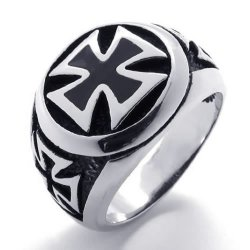 Mens Ring Vintage Stainless Steel Iron Cross Band Silver Black- INTL