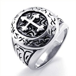 Mens Rings Stainless Steel Classical Retro Cross (Intl)