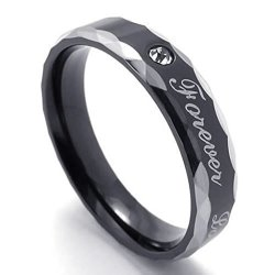 "Mens Rings Stainless Steel Ring Lovers Carved ""Forever Love"" (Intl)"