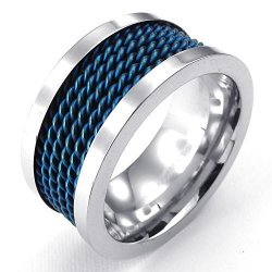 Mens Stainless Steel Ring Classic Wire Band Blue Silver (Intl)