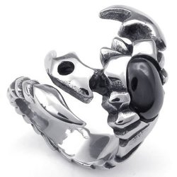 Mens Stainless Steel Ring Gothic Tribal Scorpion Black Silver- INTL