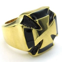 Mens Stainless Steel Ring Vintage Cross Black Gold- INTL