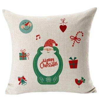Merry Christmas elderly snowman elk cotton pillowcase - Intl