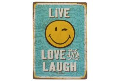 Metal Tin Decor Live Laugh and Love Smiley Design