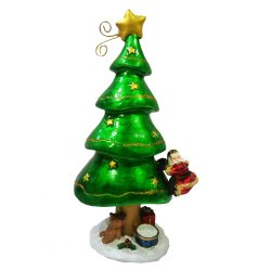 Miniature Christmas Tree with Santa Claus spring Figurine for the Holiday