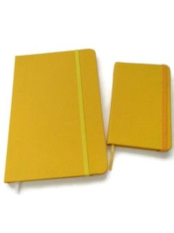 Moleskine Big and Small Notebook with Elastic Strap (Yellow)