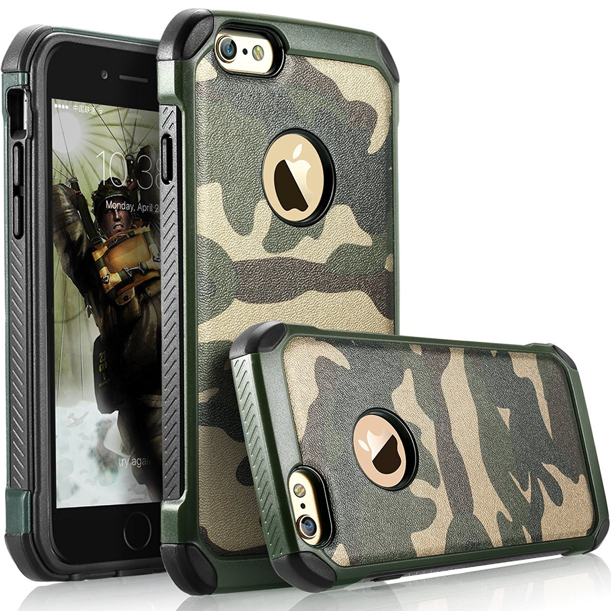 Mypro Camouflage PU/TPU Hybrid Dual Layer Protective Case for iPhone 6 Plus/6S Plus 5.5