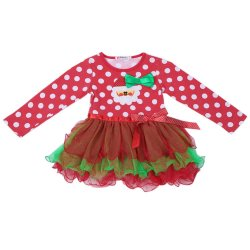 New Baby Girl Christmas Dress Long Sleeve Dotted Tutu Dress Merry Christmas Dress red (Intl)