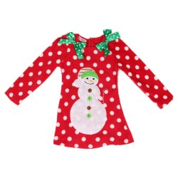 New Christmas Girls long sleeved dress Dotted Snowman Dresses Christmas Red Children's Clothing red (Intl)