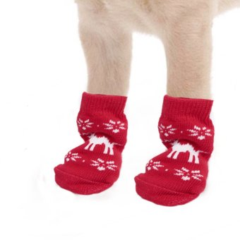 New Christmas Snowflake Pattern Pet Dog Puppy Cat Non-Slip Skid Socks Boot Bootie Red L Size Red & White (Intl)