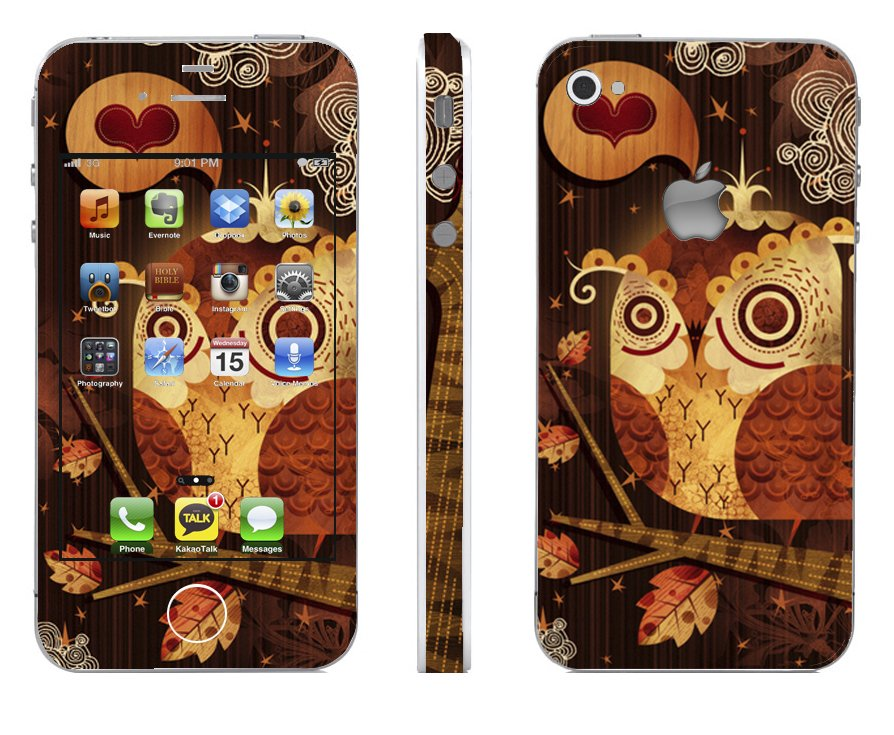 Odd Stickers Skin Cover Owl Pattern 1 for iPhone4/4s (Beige)