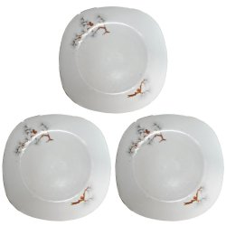 Pines Designed Round Plate Set of 3
