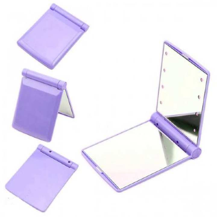 Pocket Makeup Mirror With LED Light (Purple)