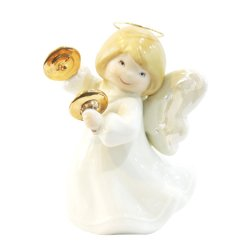 Porcelain Baby Angel with Cymbals Musical Instrument