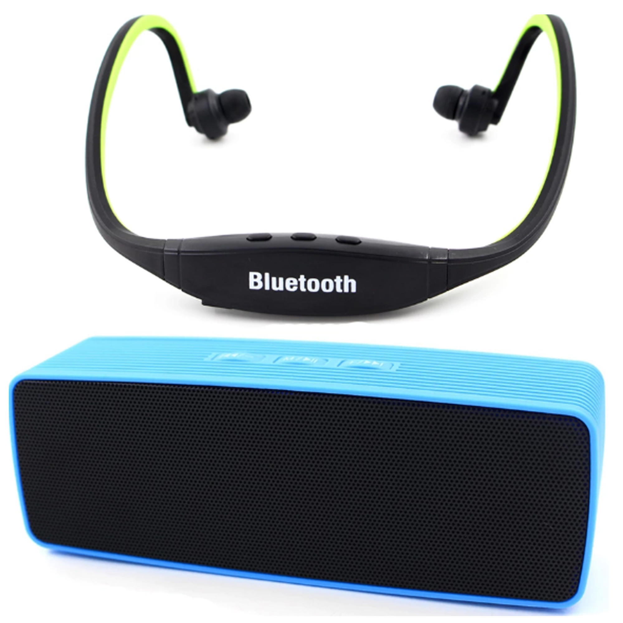 Portable Bluetooth Dual Speakers Ultra Bass (Blue) with Sports Stereo Bluetooth Headphone with Mic (Green) product preview, discount at cheapest price