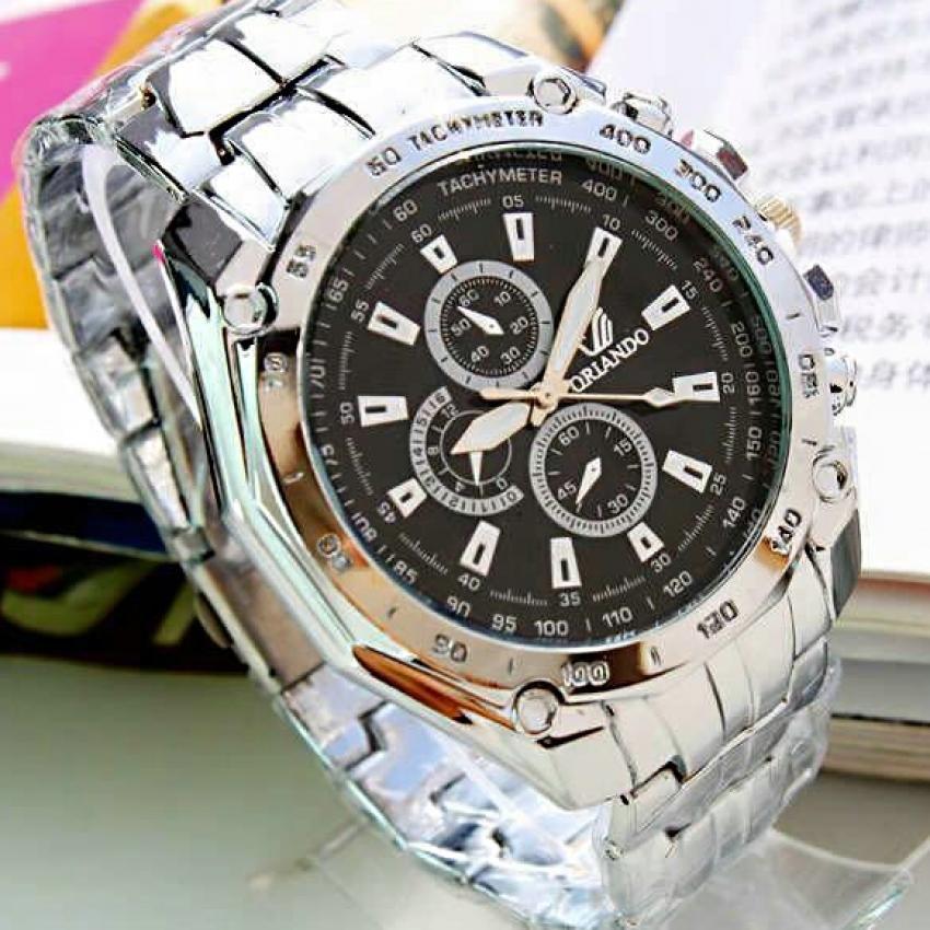 QF ORLANDO Stainless steel Waterproof Quartz Luxury Men Wrist Watch(Black)