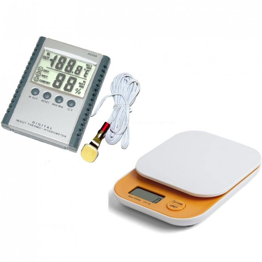 Raffles Portable HC520 Digital Humidity Hygrometer Thermometer with PPC Colorful Weighing Scale 2kg x 0.1g