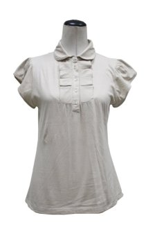 Round Collar Cap Sleeves Blouse (Skin Tone) - picture 2
