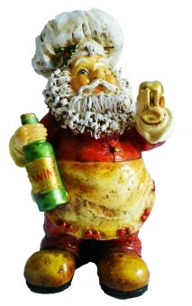 Santa Claus Baker 22 CM Wine Bottle and Wine Glass Figurine for the Holiday (Made of Fiberglass Resin) by Everything About Santa (Christmas decoration and gift suggestion)