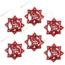 Santa Design Christmas Ornament 6pcs(Red)