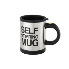 Self Stirring Coffee Mug (black/silver) By Mp-Gifts Galore.