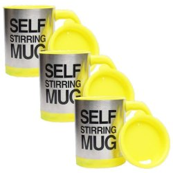 Self Stirring Coffee Mug Gift Set of 3 (Yellow)