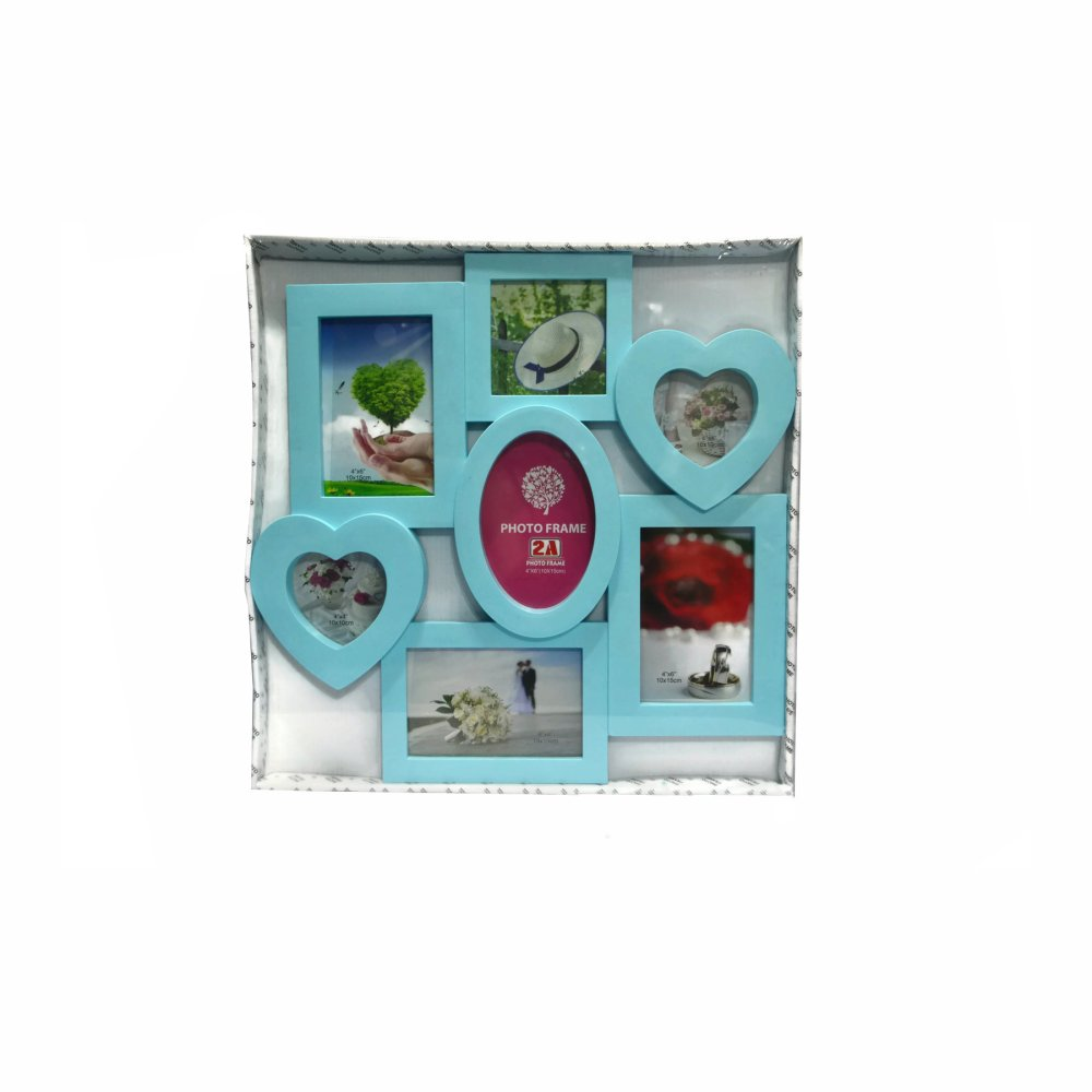Seven Frame With Heart and Oval Design Collage Picture Frame (Blue) product preview, discount at cheapest price
