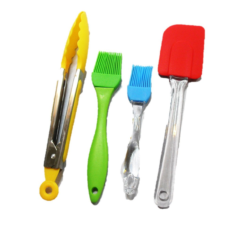 Silicon Heat Resistant 4-Piece Kitchen Utensils (Multicolor)