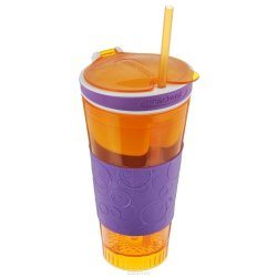 Snackeez 2 in 1 Snack and Drink Cup (Orange/Violet)