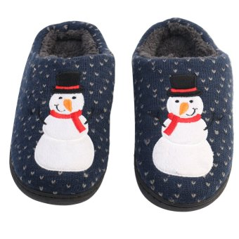Snowman printed winter slippers for men and women christmas slippers to home plush velvet slippers nightmare - Intl