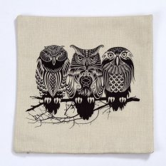 Sofa Home Decorative Linen Cotton Blended Cushion Cover Crown Throw Pillow Case Night Owl