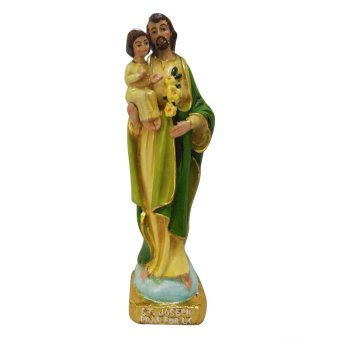 Religious St.Joseph with Infant Jesus Statue (Green) (Made of Fiberglass Resin) by Everything About Santa (Christmas decoration and gift suggestion)
