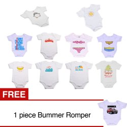 Stache Romper Pack of 10 (White) with Free Bummer Romper