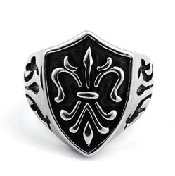 Stainless Steel Biker Vintage Celtic Cross Shield Mens Ring (Intl)
