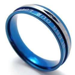 Stainless Steel Blue Mens Womens Mens Wedding Band Engagement Promise Ring (Intl)