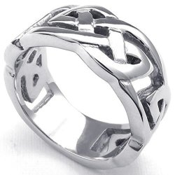 Stainless Steel Fashion Men's Rings Classical Celtic Knot Silver Width 10mm (Intl)