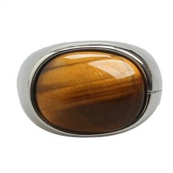 Stainless Steel Fashion Men's Rings Classical Tiger Eye- INTL