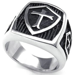 Stainless Steel Fashion Men's Rings hield Cross Retro,Silver Black (Intl)