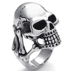 Stainless Steel Fashion Men's Rings Keleton Gothic Black Silver- INTL