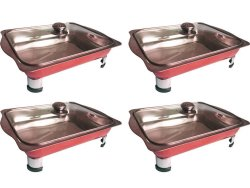 Stainless Steel Food Tray Serving Dish Set of 4 (Ruby Red)