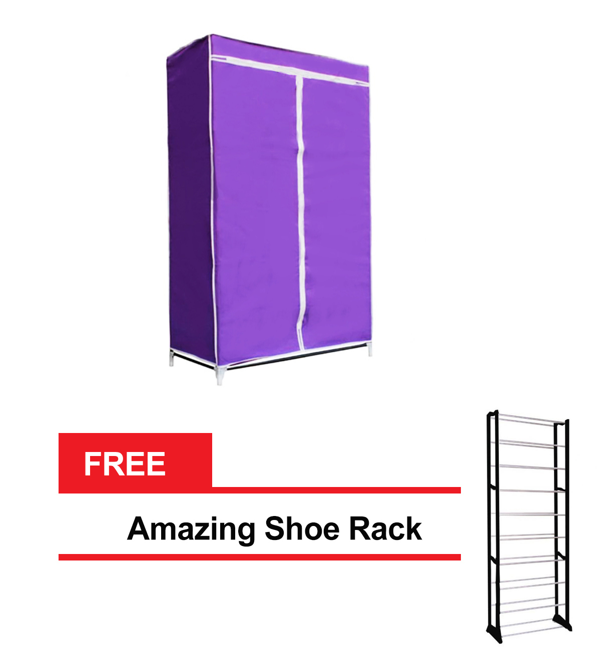 Storage Wardrobe and Clothes Organizer (Purple) with FREE Amazing Shoe Rack