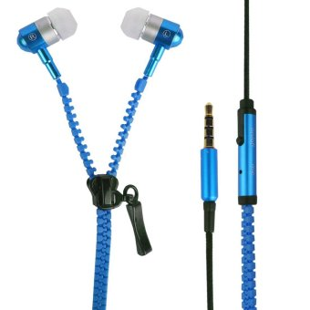 Super Bass Zipper In-Ear Earphones (Blue)
