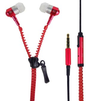 Super Bass Zipper In-Ear Earphones (Red)