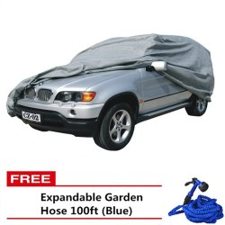 SUV Car Cover (Grey) with Free Expandable Garden Hose 100ft (Blue)