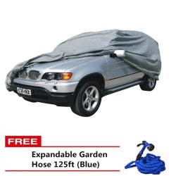 SUV Car Cover (Grey) with Free Expandable Garden Hose 125ft (Blue)