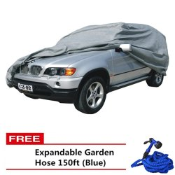 SUV Car Cover (Grey) with Free Expandable Garden Hose 150ft (Blue)