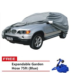 SUV Car Cover (Grey) with Free Expandable Garden Hose 75ft (Blue)