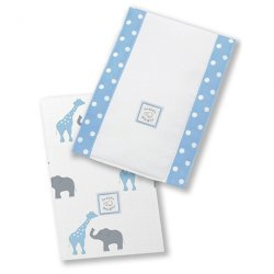 Swaddle Designs Baby Burpies Safari Fun Set of 2 (Blue)